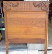 Antique High-back Oak Double Bed With Ornate Pediment