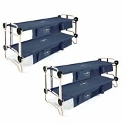 Disc-o-bed Large Cam-o-bunk Bunked Double Cot W/ Organizers Navy Blue 2 Pack