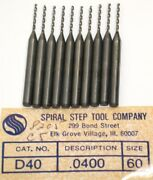 Lot Of 1000 New Spiral Step Drill Co. .0400 Carbide Circuit Board Drills D40
