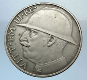 1928 Italy King Victor Emmanuel Iii Silver 20 Lire Coin Wwi Commemorative I71989