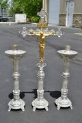 + Ornate Silver Plated Altar Cross With Pair Of Matching Candlesticks + Cu729