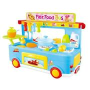 Azimport Ps8807 Fast Food Bus Kitchen Play Set Toy Blue - 29 Piece