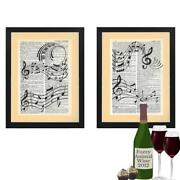 Set Of 2 Music Musical Notes Contemporary Dictionary Art Prints Teachers Gift