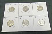 6 1945-s Jefferson Silver War Nickels -5 Choice Bu And 1 A.reduced 8/25/21 5965
