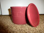 Longaberger Paprika One Pint Crock Pottery Woven Traditions Salt Candle 1 Lid