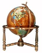 Limited Edition 19-inch Tall Amber Pearl Ocean Table Top Gemstone World Globe