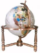 Limited Edition 19-inch Tall White Pearl Ocean Table Top Gemstone World Globe