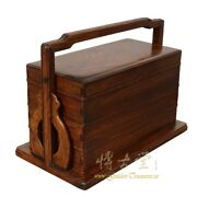 Antique Chinese Rosewood Hand Craft Lunch Box