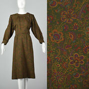 Xl 1970s Yves Saint Laurent Green Wool Day Dress Vtg Purple Pink Floral Buttons