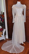 Antique 1920's Vanilla Wedding Gown With Long Sleeves And Lace Neckline