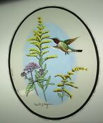 Glassmasters Hummingbird And Goldenrod By Ronald J. Louque 7x8inches
