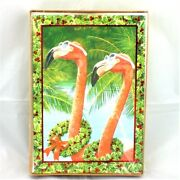 Pink Flamingo W Christmas Wreath Boxed Holiday Cards New 18 Ct Sunglasses Palms