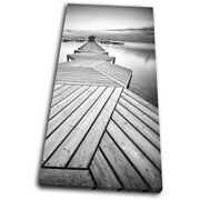 Wooden Jetty Lake Sunset Seascape Single Canvas Wall Art Picture Print