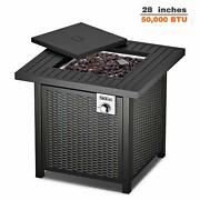 Tacklife Gas Fire Table 28 Inch 50000 Btu Auto-ignition Outdoor Propane Gas Fi