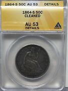 1864 S Seated Liberty Half Dollar Anacs Au53 Details Cleaned [691]t4