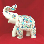 13and039and039 Marble Elephant Trunk Up Mosaic Floral Stone Beautiful Art Inlay Gift H3764