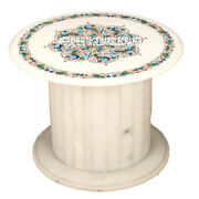 White Marble Corner Table With Stand Floral Marquetry Outdoor Decor Mosaic H3547