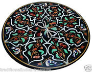 3and039x3and039 Black Marble Round Dining Table Top Marquetry Inlay Work Home Decorative