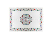 White Marble Dining Table Top Multi Gems Inlaid Floral Art Furniture Decor H3038