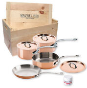 Mauviel Mand039150s 7 Piece Copper Cookware Set Cast Stainless Handles Wooden Crate
