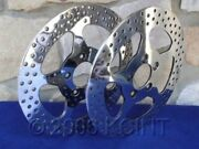 11 1/2 Star Polished Front Brake Rotor Pair For Harleys 1984-up With Free Bolts