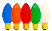 C-7 Multi-color Ceramic Steady Bulbs New 1 Box Of 25 C7 Solid Christmas Lights