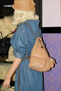 Lambskin Quilted Leather Large/mini Backpack Ruthenium Hw Chain Bag Rare