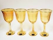Set Of 4 Art Decor,yellow,gold Linear Trim Wine Glass+stem,goblet-from Italy