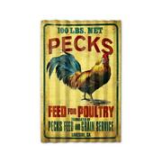 Past Time Signs Ptsc009 Pecks Rooster Feed Corrugated Rustic Barn Wood Sign