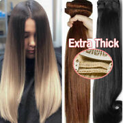 Extra Thick Clip In Double Weft Human Remy Hair Extensions Highlight Ombre Uk M8