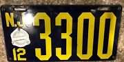 1912 New Jersey Porcelain License Plate 3300 1912 Badge Rare Condition Vgc