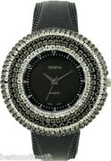 New Geneva Black Silicone With 6 Rows Of Crystals Round Dial Watch