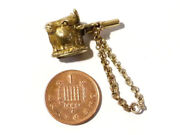 19thc Cow - Bull Head 9ct 9k Gold Pocket Watch Key And Citrine Seal Charm Gg1