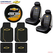New 9pcs Chevy Elite Logo Car Truck Seat Covers Floor Mats Steering Wheel Cover