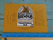 Beer Bottle Label Broad Ripple Brewpub Traditional Ale Indianapolis, Indiana