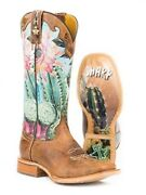 Tin Haul Womenand039s Ladies Cactus Flower Print Brown Leather Western Cowboy Boots