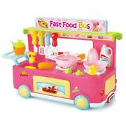 Azimport Ps8808 Fast Food Bus Kitchen Play Set Toy Pink - 29 Piece