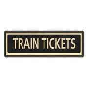 Train Tickets Vintage Looking Metal Sign Home Decor 106180066027