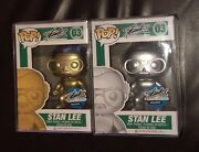 Funko Pop Stan Lee Superhero 03 Exclusive Gold And Silver Set Nycc 2015 Rare