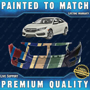 New Painted To Match - Front Bumper Direct Fit For 2016 2017 2018 Honda Civic