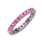Pink Sapphire Common Prong Eternity Ring Stackable 2.31 Ctw 14k Gold Jp19879