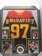 Connor Mcdavid Erie Otters Autographed Jersey Framed W/ Photos Upper Deck Coa
