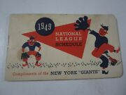 1949 National League New York Giants Official League Schedule Booklet