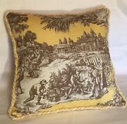 French Country Cottage Pillow Yellow Ivory Brown Traditional Toile Farm American