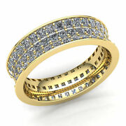 Natural 4 Ct Round Cut Diamond Ladies Threerow Pave Eternity Band Ring 14k Gold