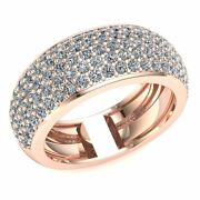 Natural 1.6 Ct Round Cut Diamond Womenand039s 5row Pave Half Eternity Ring 18k Gold