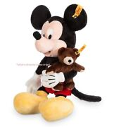 Disney Parks Mickey Mouse With Teddy Bear Plush By Steiff 13 1/2and039and039 New