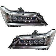 Headlight Set For 2014-2016 Acura Mdx Left And Right Led With Bulb Capa 2pc