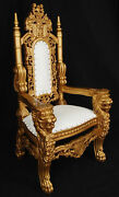 Mini Lion Throne Chair - 3 Feet Tall Child Or Doll Size - Gold Finish / White