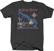 Key West Florida Dolphins Sailboats Compass Vacation Palm Trees T Shirt For Men